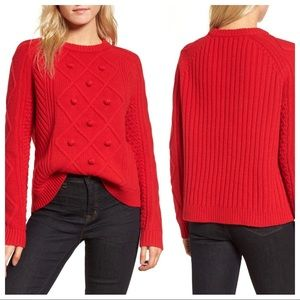 J. Crew Merino Wool Pom-Pom Sweater in Rec